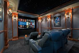 home theater step lighting. Living Room Movie Theater Home Contemporary With Step Lighting Blue Fabric Leather