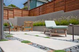 Simple Modern Patio Designs Design Gray Retaining Wall Privacy Fence On Inspiration