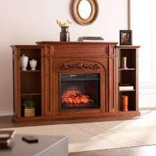binghamton 72 5 in w bookcase infrared electric fireplace in autumn oak