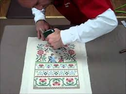 how to frame a cross stitch demo of