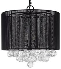 crystal chandelier with large black shades and