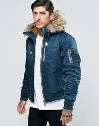 schott nylon hooded er detatchable faux fur trim navy men jacket schott leather jackets hot