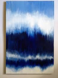 blue abstract painting large original art on canvas indigo white ikat