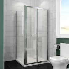elegant 700 x 700 mm bifold glass shower enclosure reversible folding shower cubicle door