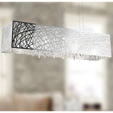 modern rectangular chandelier at vallkin crystal dining room length