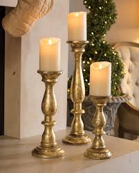 Gold Wood Pillar Candle Holders Set Of 3 Balsam Hill