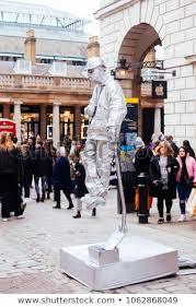 london uk march 10 2018 living statue on london street which is