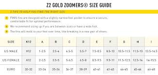 Finis Zoomer Z2 Gold Fins Size Chart Z2 Gold Zoomers Short Blade Swim Fins Swimshop2u Com