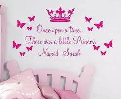personalised once upon a time princess wall art sticker quote for girls bedrooms on personalised wall art stickers quotes with personalised once upon a time princess wall art sticker quote for