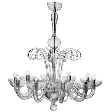two italian mid century style clear murano venetian glass ten arm chandeliers for