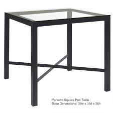 coffee table bases for glass tops best of parson counter height with 36 in x 36 in top