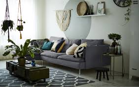 ideas for ikea furniture. A Living Room With Grey Sofa And Indoor Plants Ideas Ikea Decorate The S For Furniture D