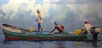 this traditional al sprague fishermen original has just been completed sprague is known for capturing the dramatic skies of panama in his work