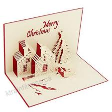 Fenteer Merry Christmas Gift Cards 3d Xmas Castle Pop Up