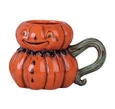 J Parker Design Mugs Johanna Parker Jack O Lantern Head With Green Stem Handle Dolomite Ceramic Halloween Mug