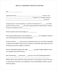 Month To Month Rental Agreement Template Free 7 Sample Rental Agreement Month To Month Forms In Pdf