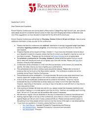parent teacher conference letters res news events resurrection college prep high school