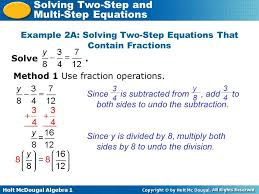 example 2a solving two step equations that contain fractions