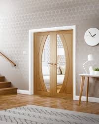 rno internal oak rebated door pair with clear glass lifestyle roomshot