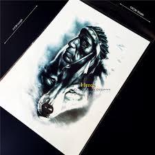 1 шт дизайн 3d индийский воин человек временные татуировки наклейки