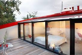 small house design with glass walls
