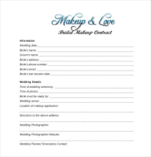 wedding and bridal makeup contract template