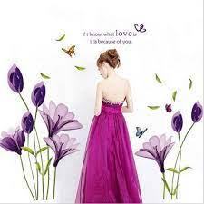 สติ๊กเกอร์ติดผนัง ดอกลิลลี่ สีม่วง ผีเสื้อ คำกลอน ภาษาอังกฤษ