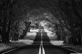 Road Landscape, Aesthetic, Black and ...