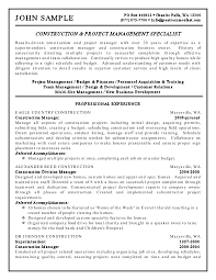 cover letter sample resume for project management sample resume cover letter example resume construction management sample project specialist for professional experience and contruction managersample resume