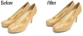 before and after patent leather cleaner