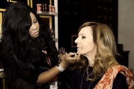 connecticut makeup artist brandy gomez duplessis doing makeup on actress allison janney at sundance film festival