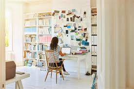 working for home office. Image: A Woman Works At Home Working For Office