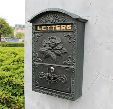 Decorative Mail Boxes Embossed Trim Decor Bronze cast iron mailbox Wall mounted Mail Box 47