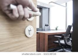 modern office door. Men Hand Open The Door Handle Or Door. Modern Office