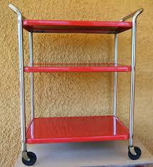 kitchen utility cart. Vintage Retro Red Metal Rolling Kitchen Utility Cart I