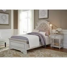 antique white bedroom furniture. Magnolia Home Antique White Upholstered Bed Bedroom Furniture