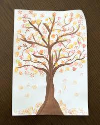 Bundled Q-tip autumn tree painting