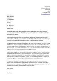 Cover letter written for retail management positions  it highlights key abilities like marketing  business