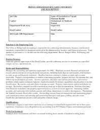 Head Cashier Job Description Resume Resume Cashier Duties