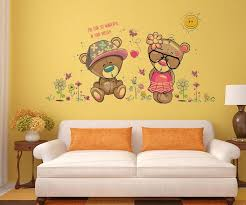 removable cute couple bear wall stickers art decal wall post on bear wall art nursery with removable cute couple bear wall stickers art decal wall post super
