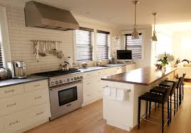 Contemporary Off White Subway Tile Kitchen