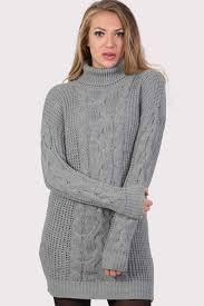 Light Grey Jumper Dress Cable Knit Long Sleeve Roll Neck Jumper Dress In Light Grey