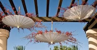 super cute reception décor hanging umbrellas