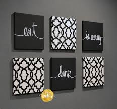eat drink be merry wall art set  on food and drink wall art with black and white trellis 6 pack wall art
