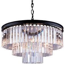 apex odeon crystal fringe chandelier black frame 3 tier 24