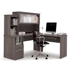 bestar dayton l shaped desk in bark gray
