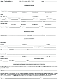 Medical Office Registration Form Templates New Patient Forms Downloadable Patient Information Form Chiropractic