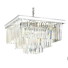 odeon chandelier retro crystal glass fringe 3 tier silver chrome rectangle