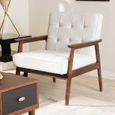stratham white mid century modern club chair