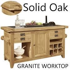 lyon solid oak furniture large granite top kitchen island unit